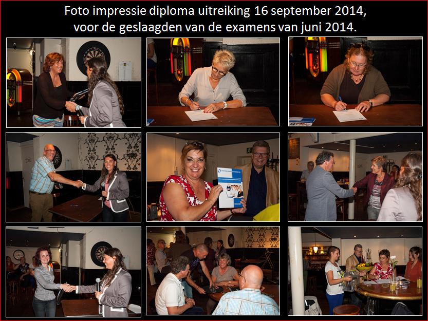Foto impressie diploma uitreiking 16 sept. 2014